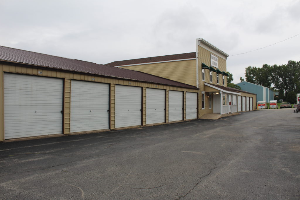 Exterior shot of storage units and front entrance
